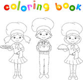 Cook, waiter, confectioner in their uniform. Coloring book Stock Photo