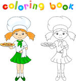 Cook or waiter in her green uniform with pizza. Coloring book Stock Photos