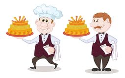 Cook and waiter with holiday cakes Stock Images