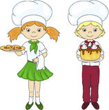 Cook or waiter in their uniform with cake and pizza Royalty Free Stock Photos