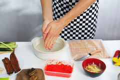 Cook wash hands before cooking Stock Photos