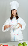 Cook with whisk Stock Photo