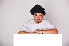 Cook on white background relies Stock Photo
