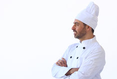 Cook in white toque uniform Royalty Free Stock Images
