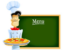 Cook With Pizza And Menu Royalty Free Stock Images