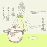 Cook woman. Universal template for greeting card, web page, background Royalty Free Stock Photo