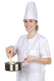 Cook woman. Happy attractive cook woman a over white background Stock Images