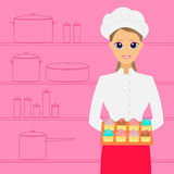 Cook. Woman baker with cakes. Vector illustration vector illustration