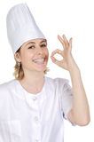 Cook woman becoming lean the f Royalty Free Stock Image