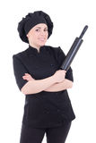 Cook woman in black uniform with baking rolling pin isolated on Stock Image