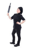 Cook woman in black uniform holding baking rolling pin isolated Royalty Free Stock Image