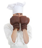 Cook woman in boxing gloves Royalty Free Stock Photos