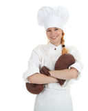 Cook woman in boxing gloves Stock Photo