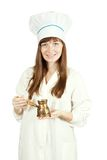 Cook woman  with  cezve Royalty Free Stock Photos