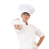 Cook woman with empty card Royalty Free Stock Images