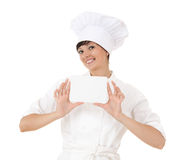 Cook woman with empty card Stock Photos