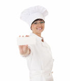 Cook woman with empty card Royalty Free Stock Photography