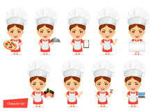 Cook Woman, Female Master Chef. Funny Cartoon Character With Big Head. Set Royalty Free Stock Image