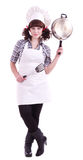 Cook woman holds a frying pan Royalty Free Stock Image