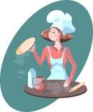 Cook. Woman cook make nice pizza Stock Image
