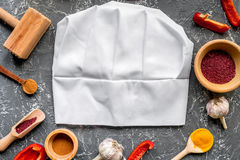 Cook workplace with kitchen tools and sweet pepper gray background top view Stock Images
