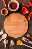 Cook workplace with kitchen tools and sweet pepper wooden background top view Stock Photo