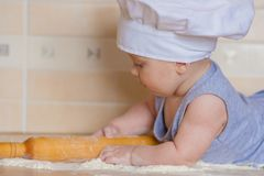 cook is young in a hood. fine royalty free stock photography