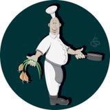 Cook z cebulą ilustracja wektor