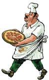 Cook z pizzą Zdjęcie Royalty Free