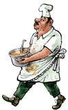 Cook z pucharem polewka Zdjęcia Royalty Free