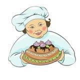 Cook z tortem, kulebiak również zwrócić corel ilustracji wektora Obraz Royalty Free