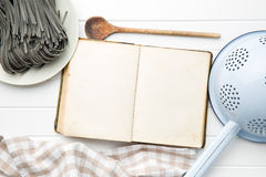Cookbook and black noodles with squid sepia ink Royalty Free Stock Photos