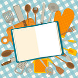 The cookbook concept. Flat design banner of kitchenware  on checkered tablecloth. The cookbook concept. Vector illustration Royalty Free Stock Image