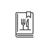 Cookbook or cookery book line icon. Outline vector sign, linear style pictogram isolated on white. Symbol, logo illustration. Editable stroke. Pixel perfect Royalty Free Stock Image