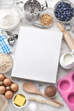 Cookbook Baking Food Background. A blank white cookbook with various food ingredients and cooking utensils on a white marble background. See image no:103507070 Royalty Free Stock Photos