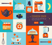 Cookbook cover in bright colors. Big vector cook icons set. Collection of kitchen items, flat style. Royalty Free Stock Image