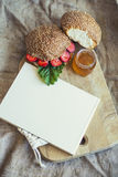 Cookbook framed Breakfast of berries with a bun and honey Royalty Free Stock Photography