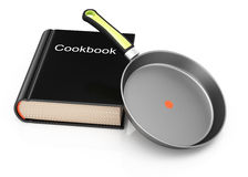 Cookbook and frying pan Stock Image