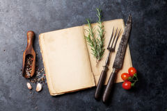 Cookbook, herbs and spices Stock Photos