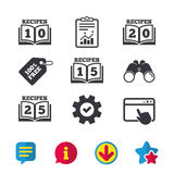 Cookbook icons. Twenty five recipes book sign. Cookbook icons. 10, 15, 20 and 25 recipes book sign symbols. Browser window, Report and Service signs. Binoculars Stock Photo