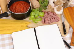 Italian cookbook or recipe book, ingredients for spaghetti bolognese, copy space Stock Photography