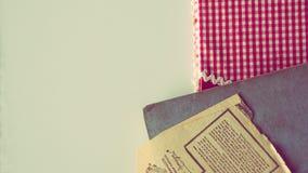 Cookbook Kitchen Accesories. Spoon and Illustrative Kitchen Stuff stock photos