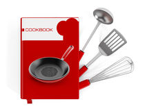 Cookbook. And kitchen utensils isolated on white background Stock Photo