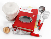 Cookbook. And kitchen utensils  on white background Stock Photography