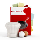 Cookbook. And kitchen utensils  on white background Royalty Free Stock Image