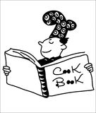 CookBook. A man who looks in the cookbook, zentangle, unique and artistic, drawing by hand Royalty Free Stock Photo