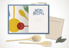 Cookbook with mom`s recipes. Vector Illustration. Cookbook with mom`s recipes. Wooden spoon and fork and bay leaves Stock Photography