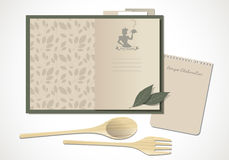 Cookbook with mom`s recipes. Wooden spoon and fork and bay leaves. Vector Illustration Royalty Free Stock Image