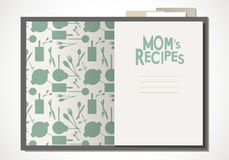 Cookbook with mom`s recipes. Wooden spoon and fork and bay leaves. Cookbook with mom`s recipes. Vector Illustration Royalty Free Stock Photos