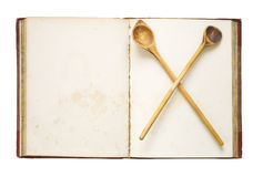 Cookbook,. Old blank recipe book, free copy space , isolated Stock Image